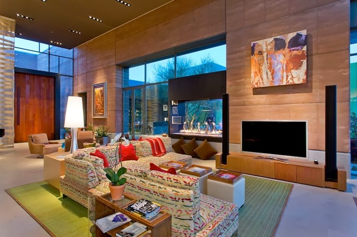 Huge living room in Multimillion modern dream home in Las Vegas