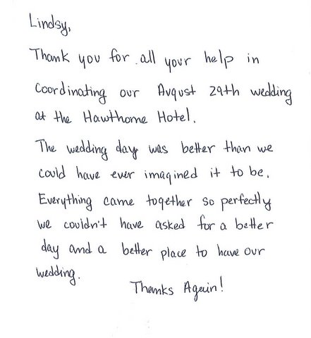Weddings At The Hawthorne Hotel Interesting Thank You