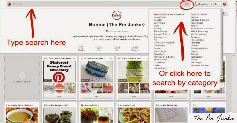 how to search Pinterest