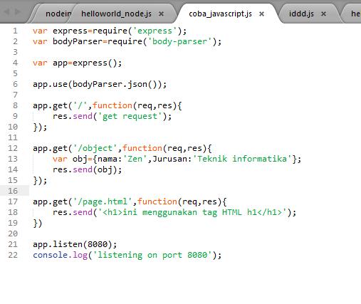 Cara Menginstal NodeJs dan Framework Express di Windows Contoh