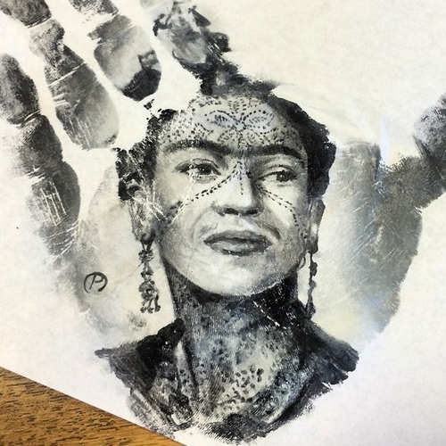 04-Frida-Kahlo-Russell-Powell-Hand-Body-Painting-Transferred-to-Paper-www-designstack-co