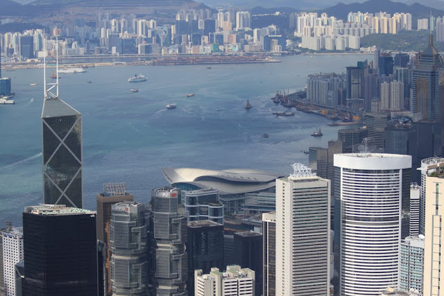 Bank of China Tower, Central Plaza (far right)  and Hong Kong Convention and Exhibition Centre from the viewing platform of Sky Terrance 428 at The Peak Tram in  Hong Kong