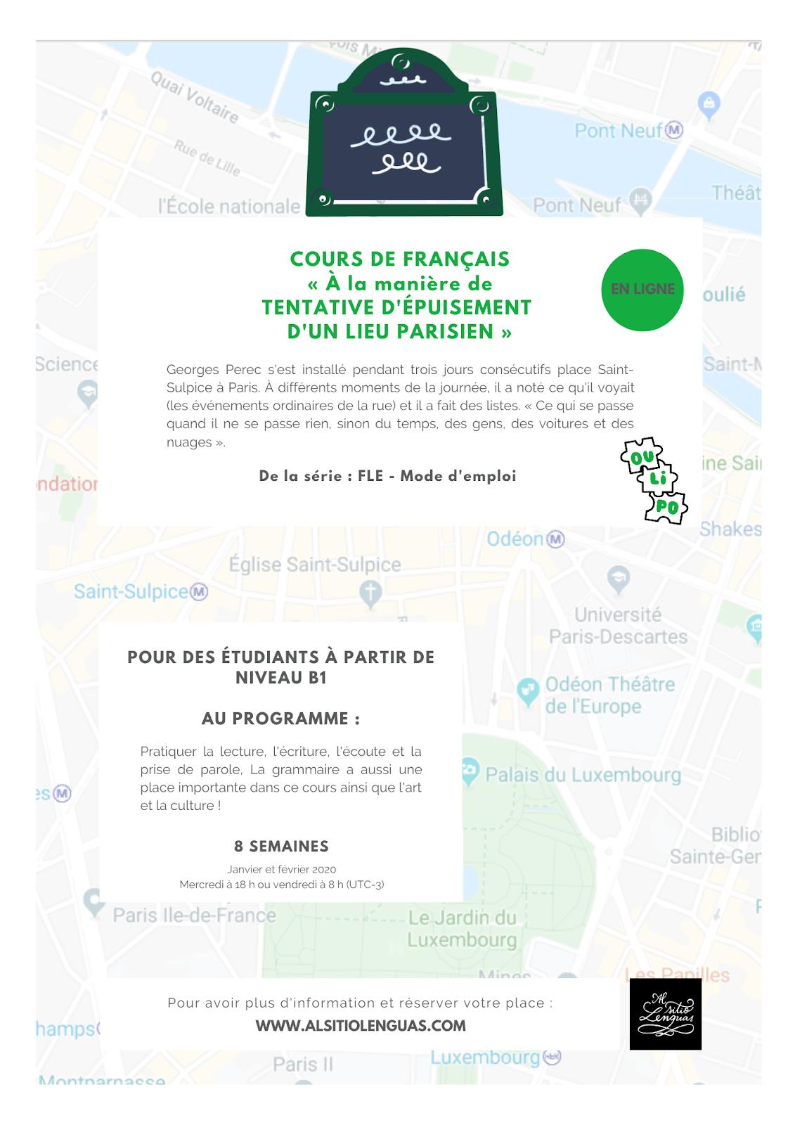 COURS DE FRANÇAIS, janvier-février 2020