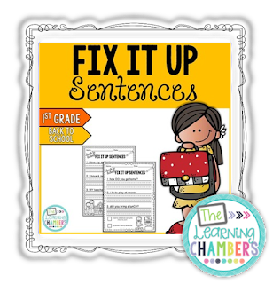 https://www.teacherspayteachers.com/Product/Back-to-School-Themed-Fix-it-Up-Sentences-First-Grade-Edition-904455