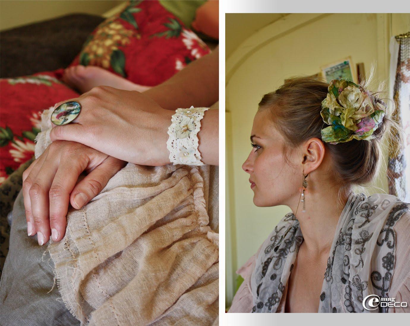 Bracelet en dentelle, création Audelia d'Anran et bague de la collection Couleur Bohème, création Fibuline au pays des Lunes...