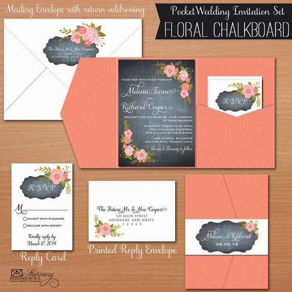 Chalkboard Wedding Pocket Fold Invitation Set by Designed By M.E. Stationery