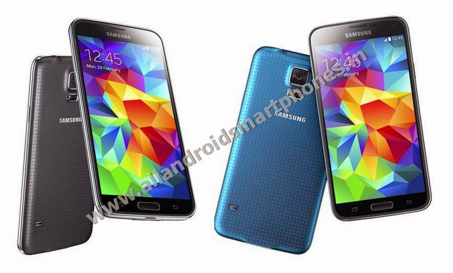 Samsung Galaxy S5 SM-G900I Android Kitkat Phablet Front Back Blue Black Color Images Photos Preview