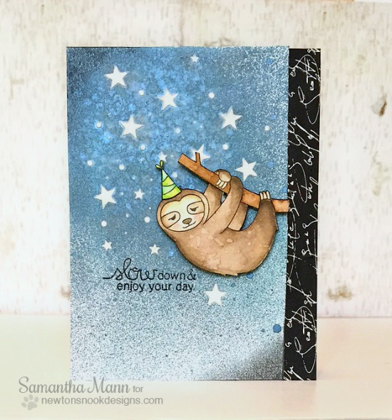 Slow Down Sloth Birthday Card by Samantha Mann | In Slow Motion Stamp set by Newton's Nook Designs #newtonsnook