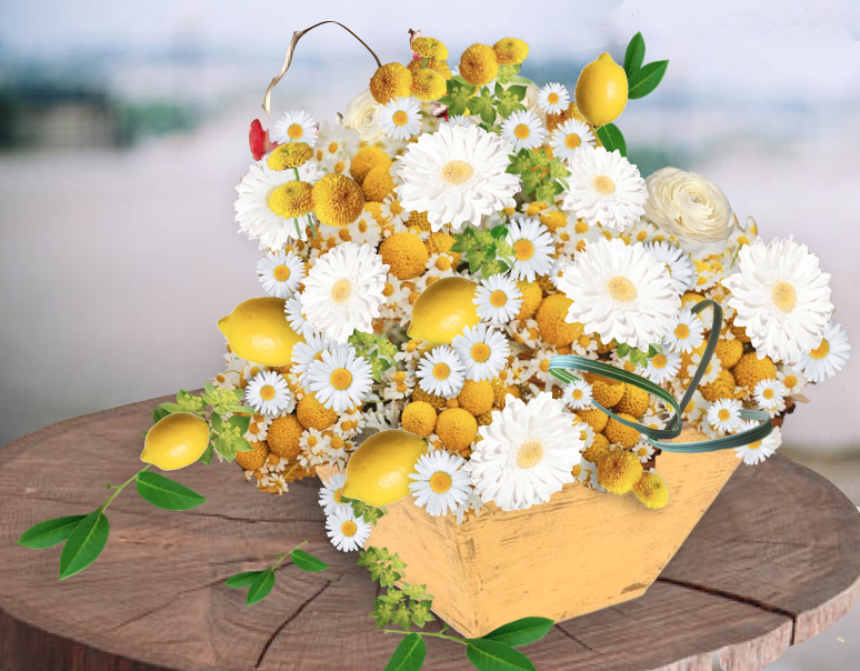 lemon and gerber floral arrangement, yellow flowers, white flowers, fresh flowers