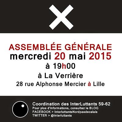 ASSEMBLÉE GÉNÉRALE Mercredi 20 mai 2015 19h00 - à LA VERRIERE - 28 rue Alphonse Mercier - LILLE
