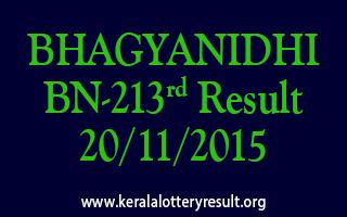 BHAGYANIDHI BN 213 Lottery Result 20-11-2015