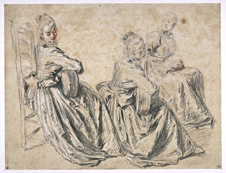Eighteenth century pencil sketch, 'Study of a Woman Playing the Guitar' by Watteau
