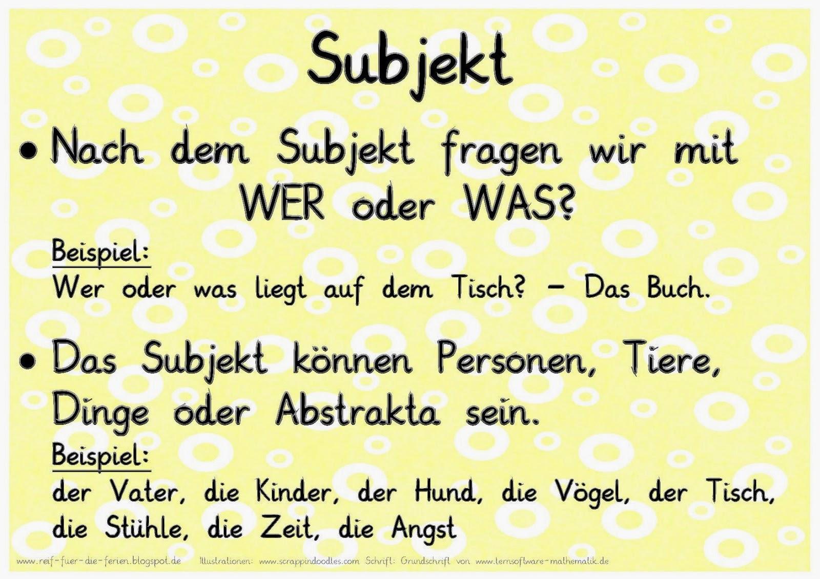 Satzglieder Merkplakate
