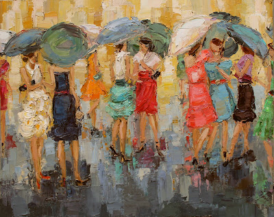fashion ladies by kathryn trotter, umbrella fashion ladies painting, fashion inspired paintings, dancing in the rain, www.kathryntrotterart.com
