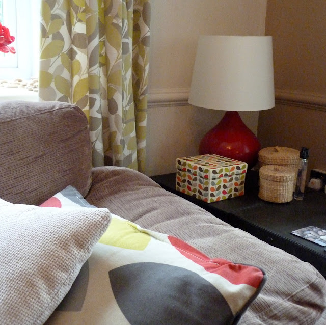 M&S curtains, Orla Kiely box, TKMaxx cushions
