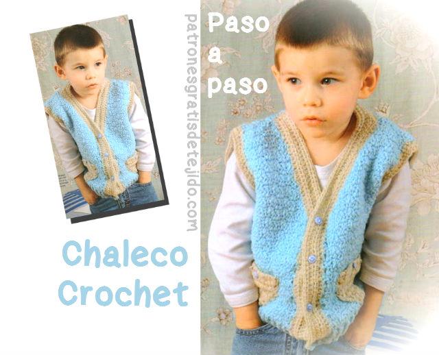 Chaleco Crochet para Niño / Paso a paso | Crochet y Dos agujas ...