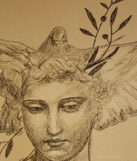 face, eyes, peace, head, woman, dove, bird, olive, pigeon, peaceful, sarah, myers, charcoal, conte, shading, tone, grayscale, drawing, classic, figurative, human,