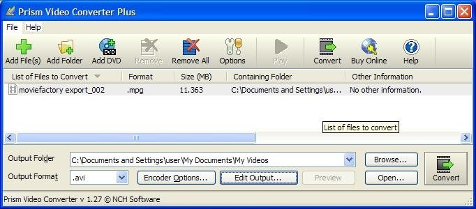 prism video file converter plus code