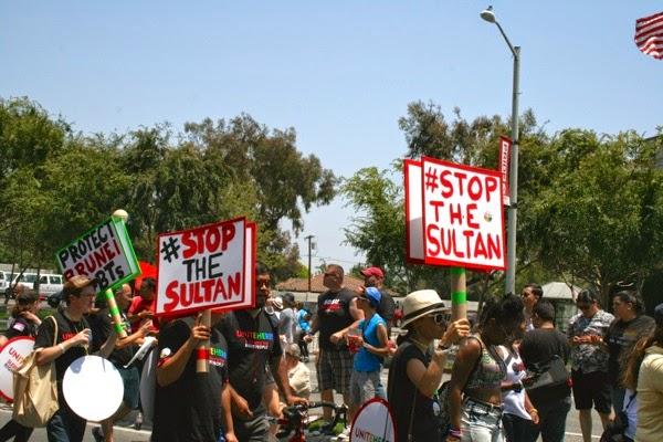 Anti Sultan of Brunei campaigners WeHo Pride Parade 2014