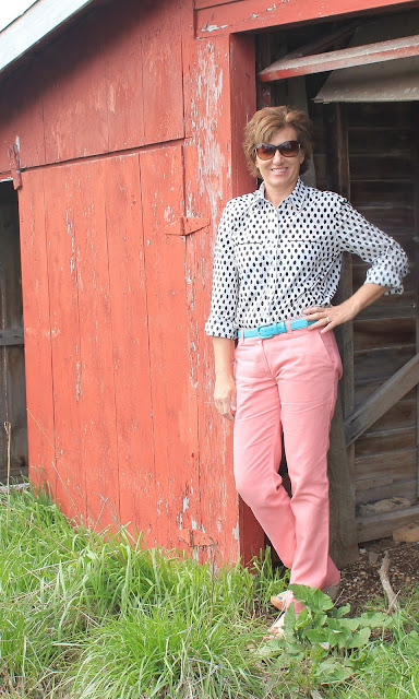 Dotted Cotton Voile Shirt and Rose Denim Pants