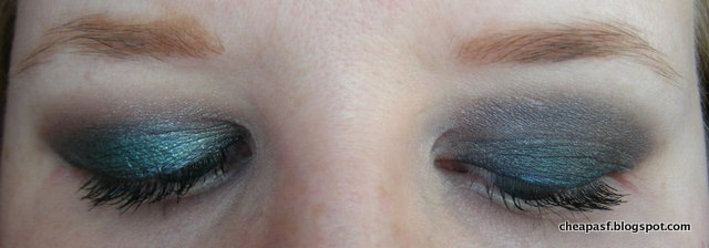 MUA Smokin Palette on right eye (left side of photo); UD Dangerous Palette on left eye (right side of photo)