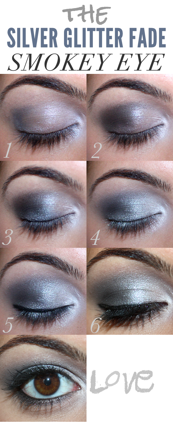 Dramatic Silver Glitter Fade Smokey Eye Makeup
