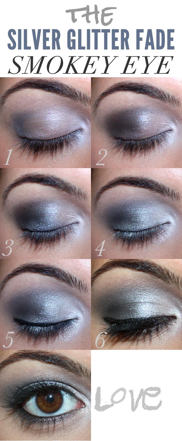 Dramatic Silver Glitter Fade Smokey Eye Makeup