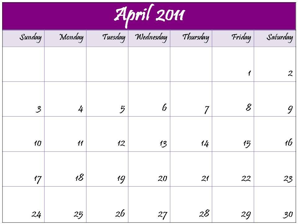 calendar 2011 april printable. Blank Calendar 2011 April