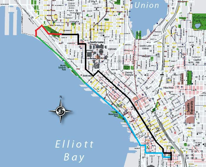 Minecraft Seattle Waterfront and Seattle Center Friday Tour Map