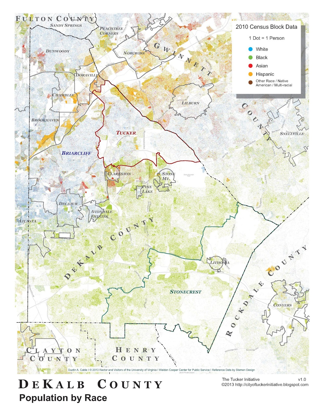 The City of Tucker Initiative: A Racial Dot Map of DeKalb County