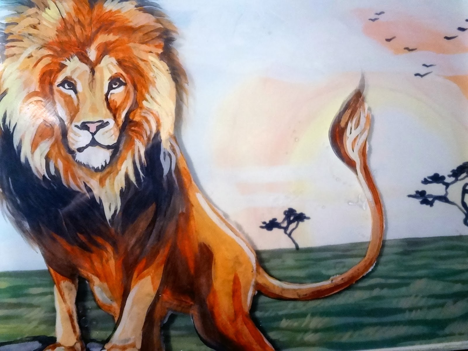 glass art, image transfer onto glass, lion glass art, lion painting