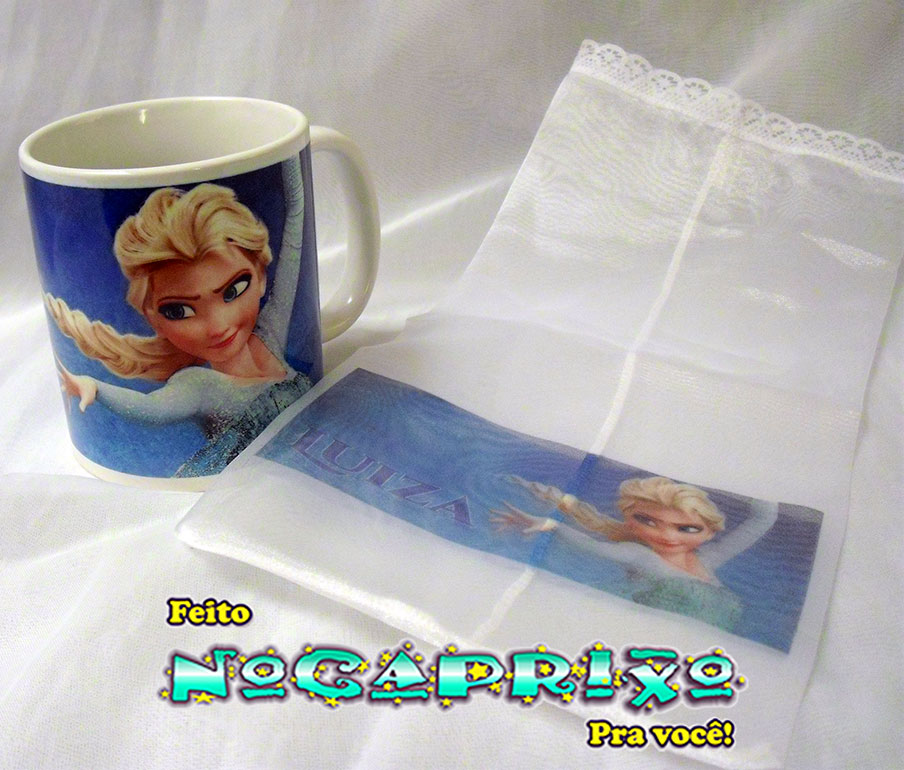 Caneca com Saquinho Personalizados - Frozen