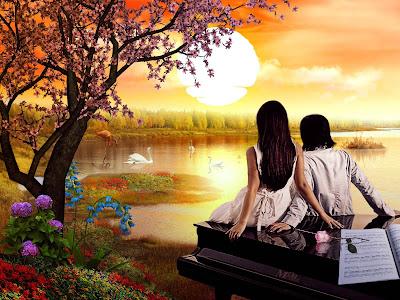 Una pareja de enamorados junto al lago