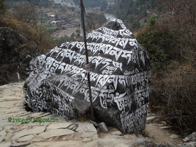 Carved stone on the way to Gokyo trekking