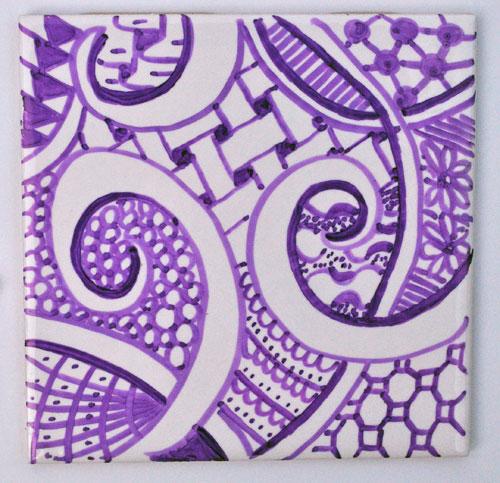 purple zen doodle coaster design