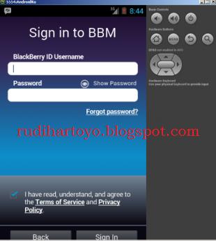 berhasil sign in, anda langsung mendapatkan Pin BB di android anda
