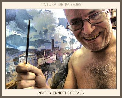 PINTURA-PAISAJES-MANRESA-PANORAMICAS-CATALUNYA-CUADROS-ARTISTA-PINTOR-ERNEST DESCALS-
