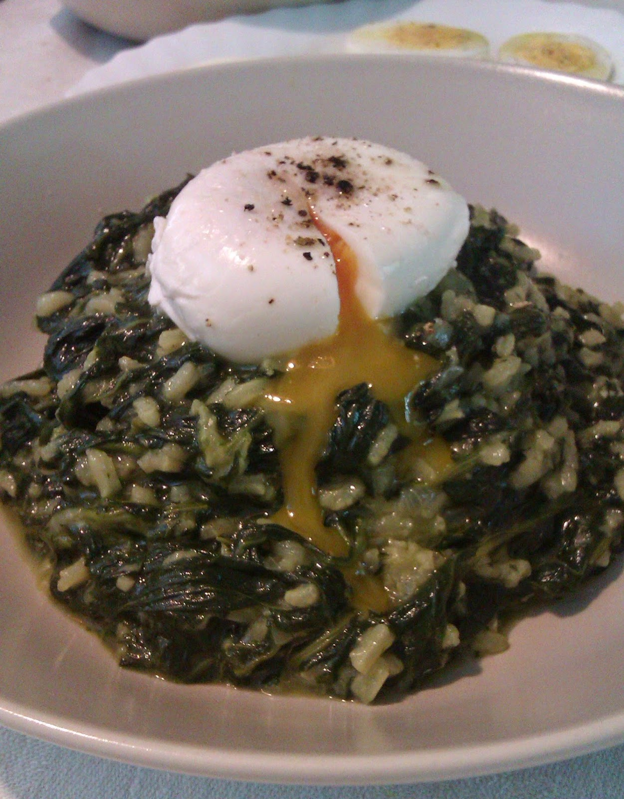 Spinach with Poched Egg