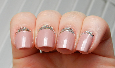 Reverse French Manicure with Glitter
