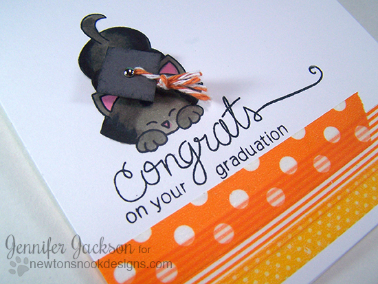 Kitty Graduation Card by Jennifer Jackson | Newton's Antics & Simply Sentimental stamp sets by Newton's Nook Designs