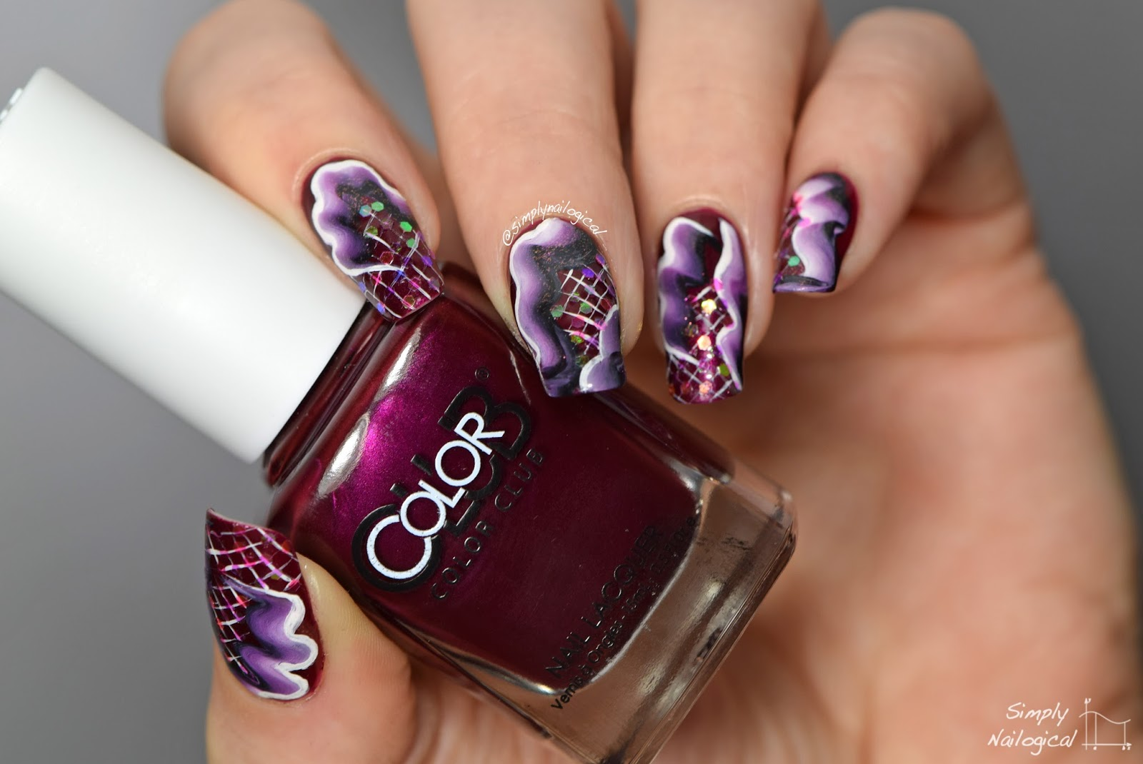 Simply Nailogical: Abstract one-stroke nails with loose glitters