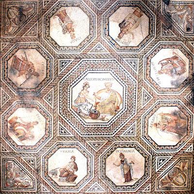 9 muses roman mosaic, VIchtern, Luxembourg