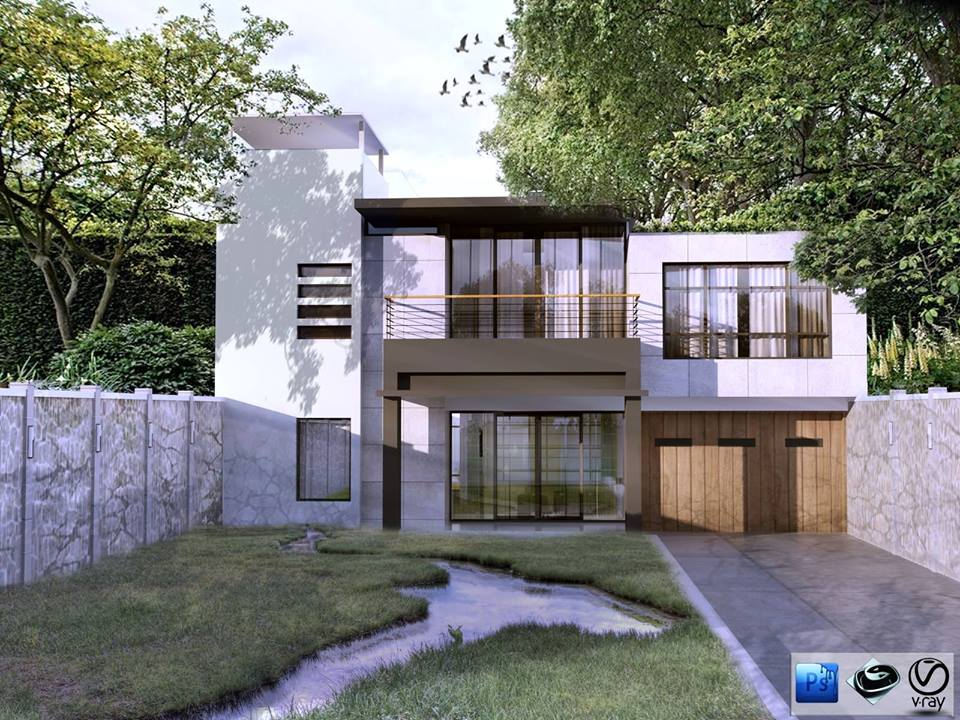 3ds max model free modern house 02 architecture design for Garden design in 3ds max