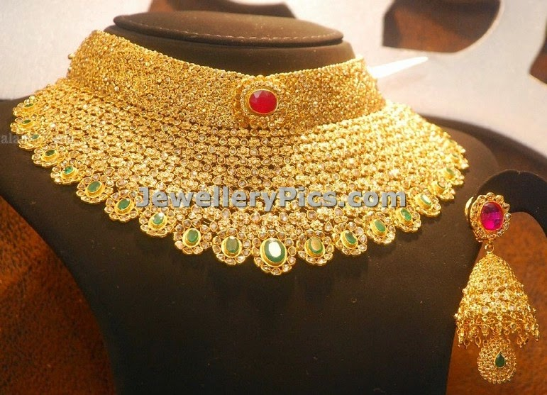 diamond set designs heavy and gold jewellery necklace