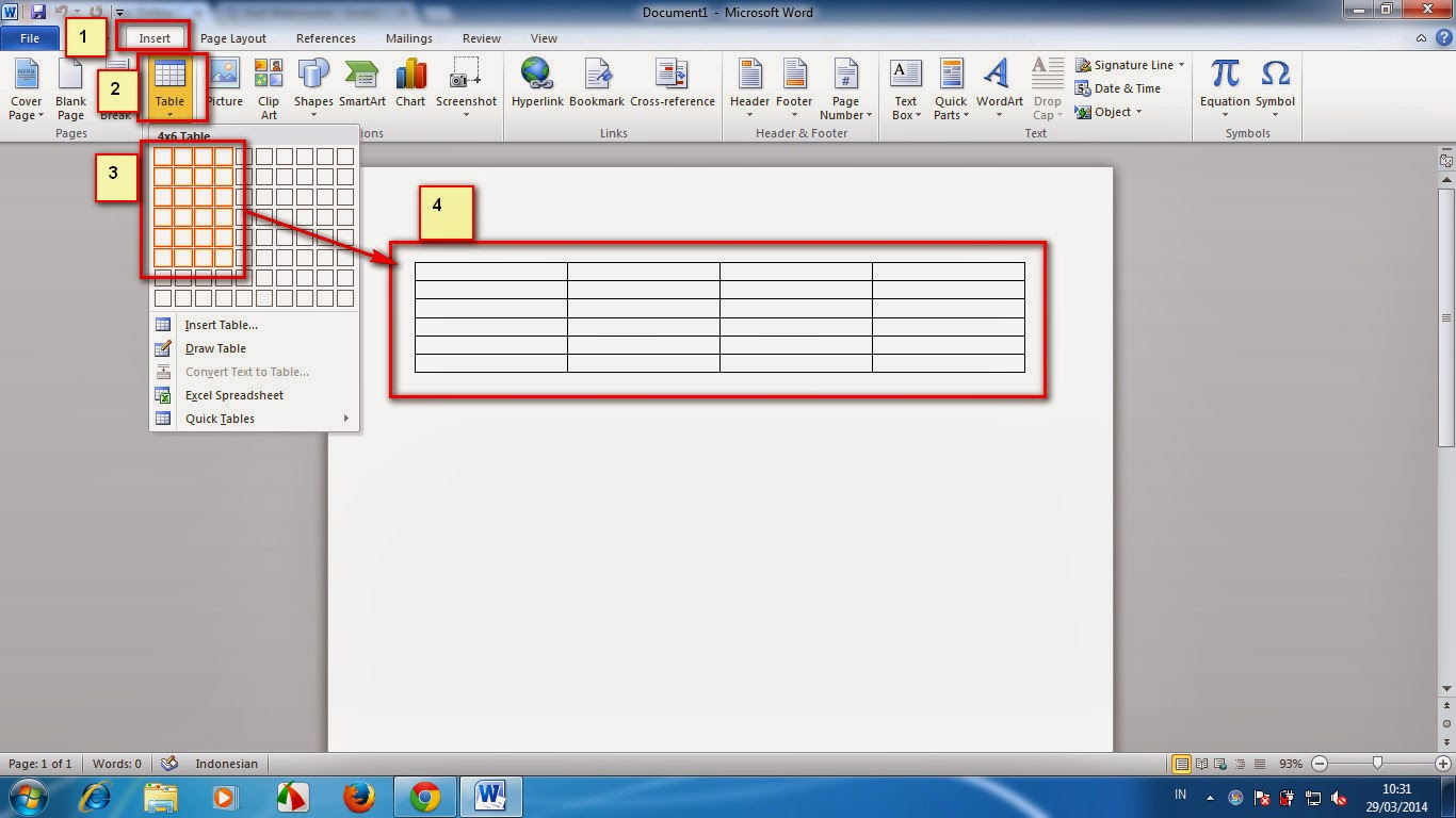 Cara Membuat Tabel Di Microsoft Office Word 2007 2010 Dan 2013