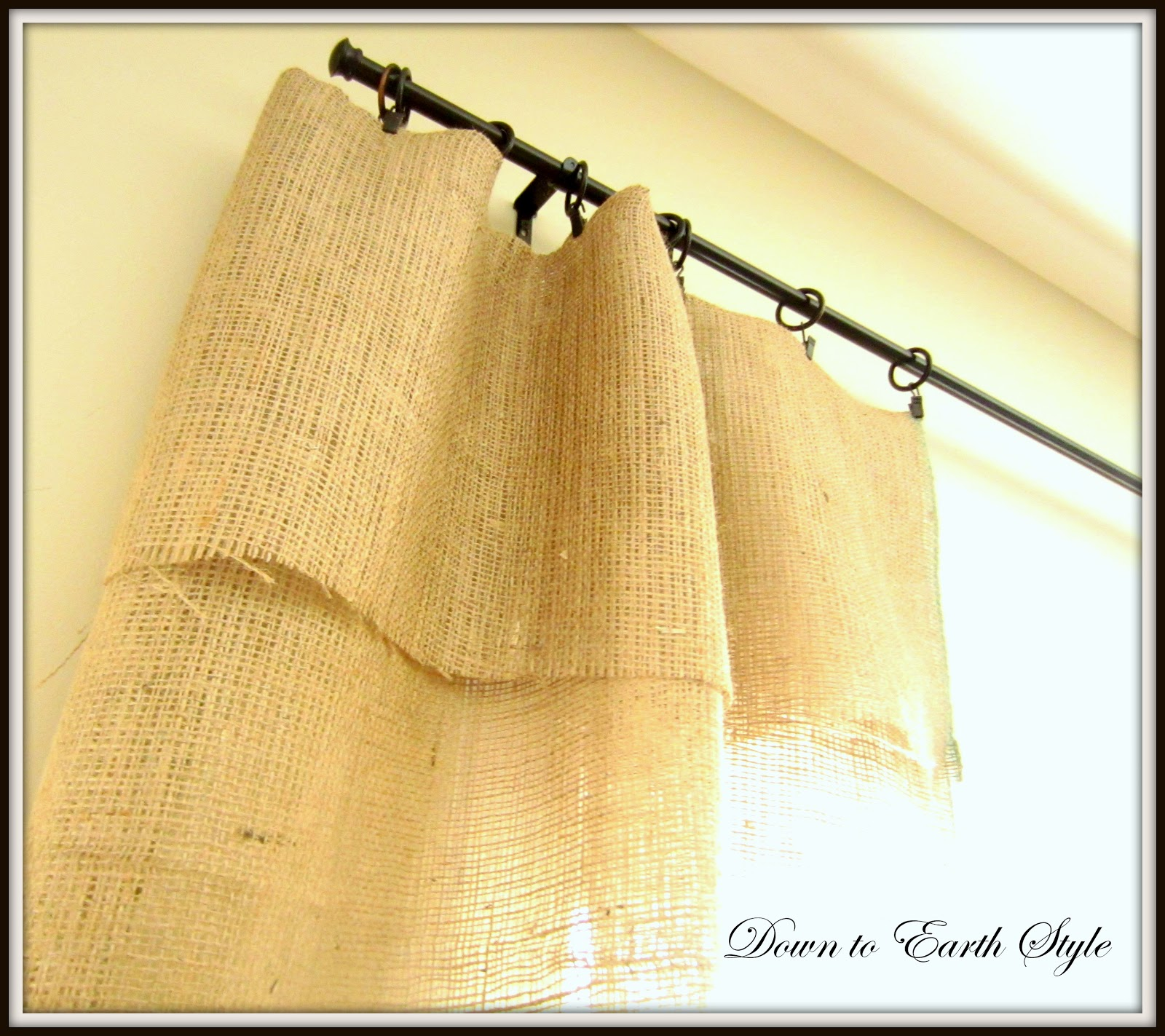 Down To Earth Style: Burlap Window Panels {No Sew