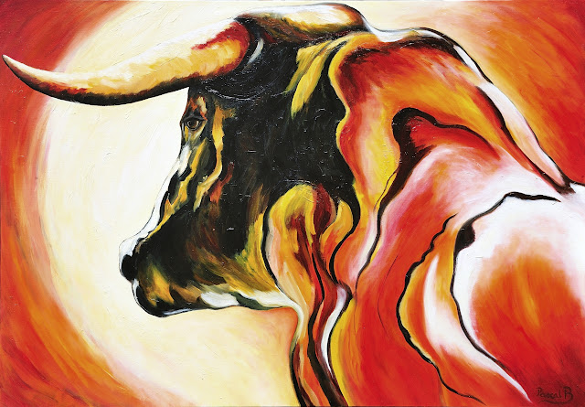 le taureau huile sur toile de pascal blachier photographié par pascal blachier