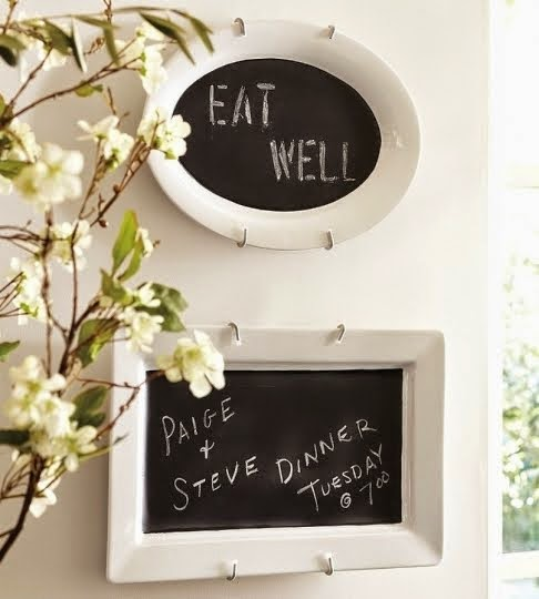 DIY Chalkboard Platters by The Rubber Punkin - TONS of Chalkboard Paint Tutorials!