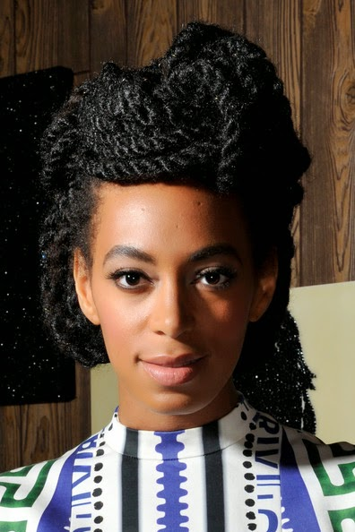Solange Knowles cornrow braid updo
