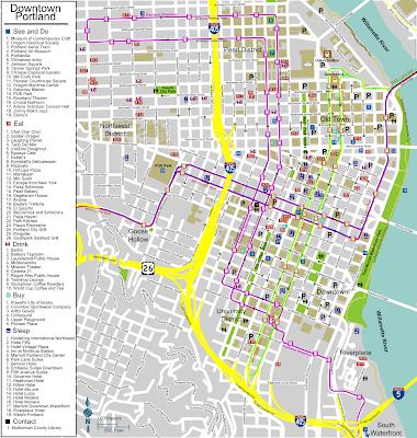 Downtown Portland map, Oregon
